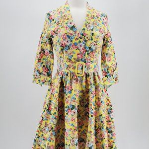 Lindy Bop 3/4 Sleeve Belted Yellow Floral Dress L